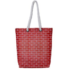 Brick1 White Marble & Red Brushed Metal Full Print Rope Handle Tote (small) by trendistuff