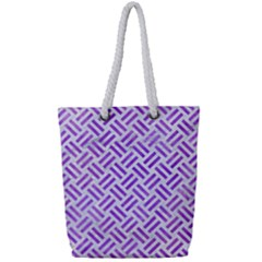 Woven2 White Marble & Purple Watercolor (r) Full Print Rope Handle Tote (small) by trendistuff