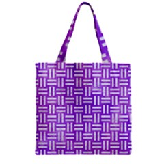 Woven1 White Marble & Purple Watercolor Zipper Grocery Tote Bag by trendistuff