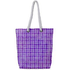 Woven1 White Marble & Purple Watercolor Full Print Rope Handle Tote (small) by trendistuff