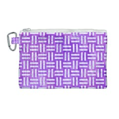 Woven1 White Marble & Purple Watercolor Canvas Cosmetic Bag (large) by trendistuff
