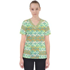 Colorful Tropical Print Pattern Scrub Top