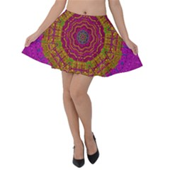 Summer Sun Shine In A Sunshine Mandala Velvet Skater Skirt by pepitasart