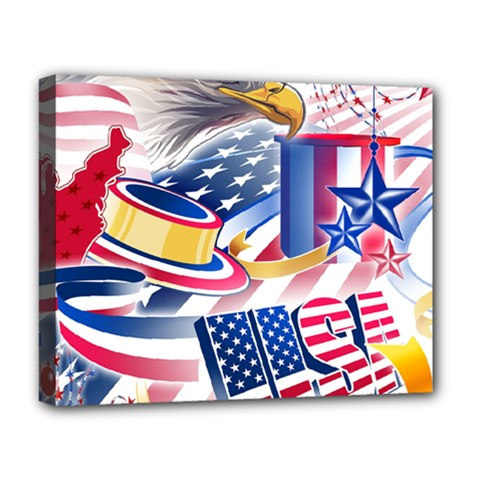 United States Of America Usa  Images Independence Day Deluxe Canvas 20  X 16   by Sapixe