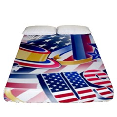 United States Of America Usa  Images Independence Day Fitted Sheet (queen Size) by Sapixe