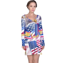 United States Of America Usa  Images Independence Day Long Sleeve Nightdress