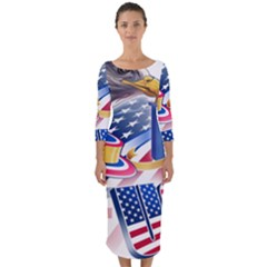 United States Of America Usa  Images Independence Day Quarter Sleeve Midi Bodycon Dress by Sapixe