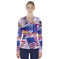 United States Of America Usa  Images Independence Day V Neck Long Sleeve Top