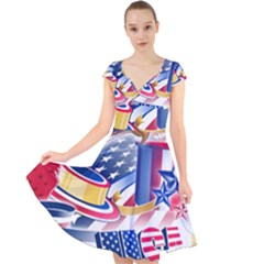 United States Of America Usa  Images Independence Day Cap Sleeve Front Wrap Midi Dress