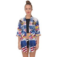 United States Of America Usa  Images Independence Day Open Front Chiffon Kimono