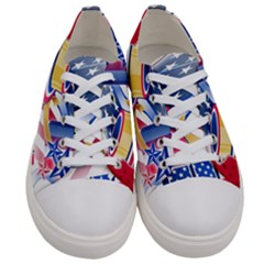 United States Of America Usa  Images Independence Day Women s Low Top Canvas Sneakers