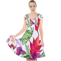 Vector Pattern Tropical Cap Sleeve Front Wrap Midi Dress