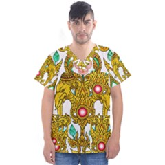 Traditional Thai Style Painting Men s V Neck Scrub Top