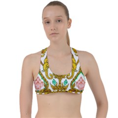 Traditional Thai Style Painting Criss Cross Racerback Sports Bra