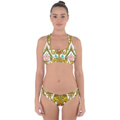 Traditional Thai Style Painting Cross Back Hipster Bikini Set
