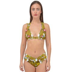 Traditional Thai Style Painting Double Strap Halter Bikini Set by Sapixe