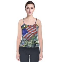 Usa United States Of America Images Independence Day Velvet Spaghetti Strap Top