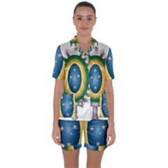 Seal Of The Brazilian Army Satin Short Sleeve Pyjamas Set