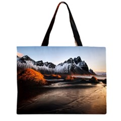 Vestrahorn Iceland Winter Sunrise Landscape Sea Coast Sandy Beach Sea Mountain Peaks With Snow Blue Zipper Large Tote Bag by Sapixe