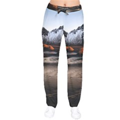 Vestrahorn Iceland Winter Sunrise Landscape Sea Coast Sandy Beach Sea Mountain Peaks With Snow Blue Velvet Drawstring Pants by Sapixe