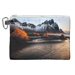 Vestrahorn Iceland Winter Sunrise Landscape Sea Coast Sandy Beach Sea Mountain Peaks With Snow Blue Canvas Cosmetic Bag (xl) by Sapixe