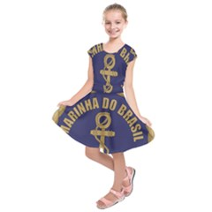 Seal Of Brazilian Navy  Kids  Short Sleeve Dress