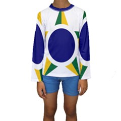 Roundel Of Brazilian Air Force Kids  Long Sleeve Swimwear