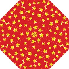 Yellow Stars Red Background Pattern Straight Umbrellas