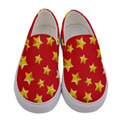 Yellow Stars Red Background Pattern Women s Canvas Slip Ons