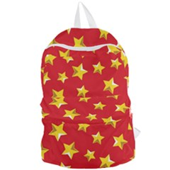 Yellow Stars Red Background Pattern Foldable Lightweight Backpack