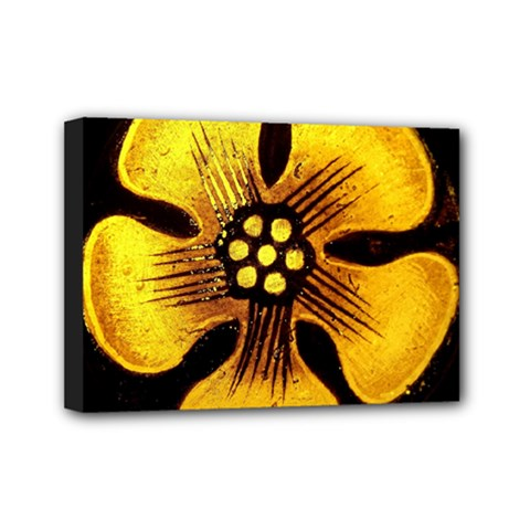 Yellow Flower Stained Glass Colorful Glass Mini Canvas 7  X 5  by Sapixe