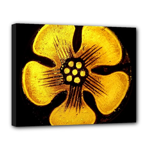 Yellow Flower Stained Glass Colorful Glass Canvas 14  X 11  by Sapixe
