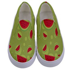 Watermelon Fruit Patterns Kids  Canvas Slip Ons