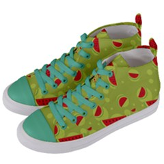 Watermelon Fruit Patterns Women s Mid Top Canvas Sneakers by Sapixe
