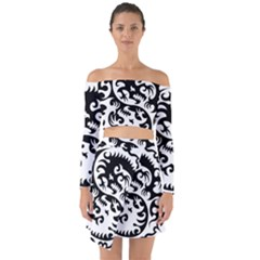 Ying Yang Tattoo Off Shoulder Top With Skirt Set
