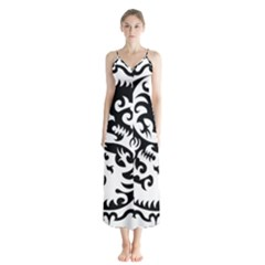 Ying Yang Tattoo Button Up Chiffon Maxi Dress