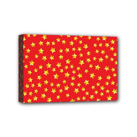 Yellow Stars Red Background Mini Canvas 6  X 4  by Sapixe