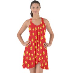 Yellow Stars Red Background Show Some Back Chiffon Dress