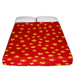 Yellow Stars Red Background Fitted Sheet (king Size)