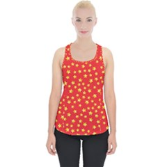Yellow Stars Red Background Piece Up Tank Top