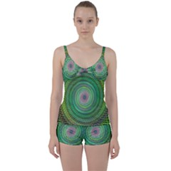 Wire Woven Vector Graphic Tie Front Two Piece Tankini