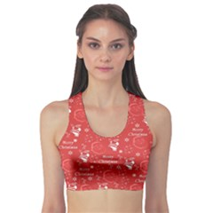 Santa Christmas Collage Sports Bra