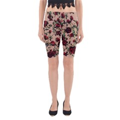 Red Roses Yoga Cropped Leggings by CasaDiModa