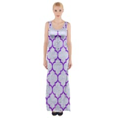 Tile1 White Marble & Purple Watercolor (r) Maxi Thigh Split Dress