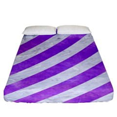 Stripes3 White Marble & Purple Watercolor (r) Fitted Sheet (king Size) by trendistuff
