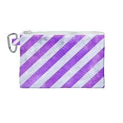 Stripes3 White Marble & Purple Watercolor (r) Canvas Cosmetic Bag (medium) by trendistuff