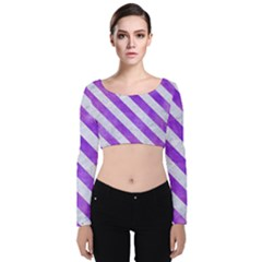 Stripes3 White Marble & Purple Watercolor Velvet Crop Top by trendistuff