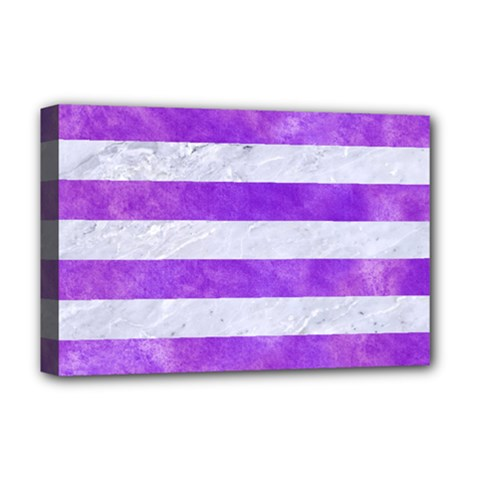 Stripes2white Marble & Purple Watercolor Deluxe Canvas 18  X 12   by trendistuff