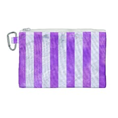 Stripes1 White Marble & Purple Watercolor Canvas Cosmetic Bag (large) by trendistuff