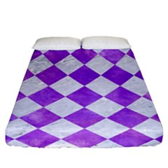 Square2 White Marble & Purple Watercolor Fitted Sheet (california King Size) by trendistuff
